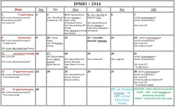 Calendário - Junho 2014