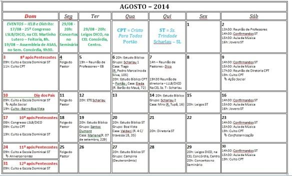 Calendário ago 2014
