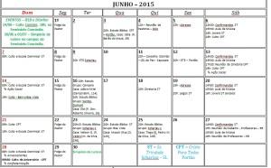Calendário junho